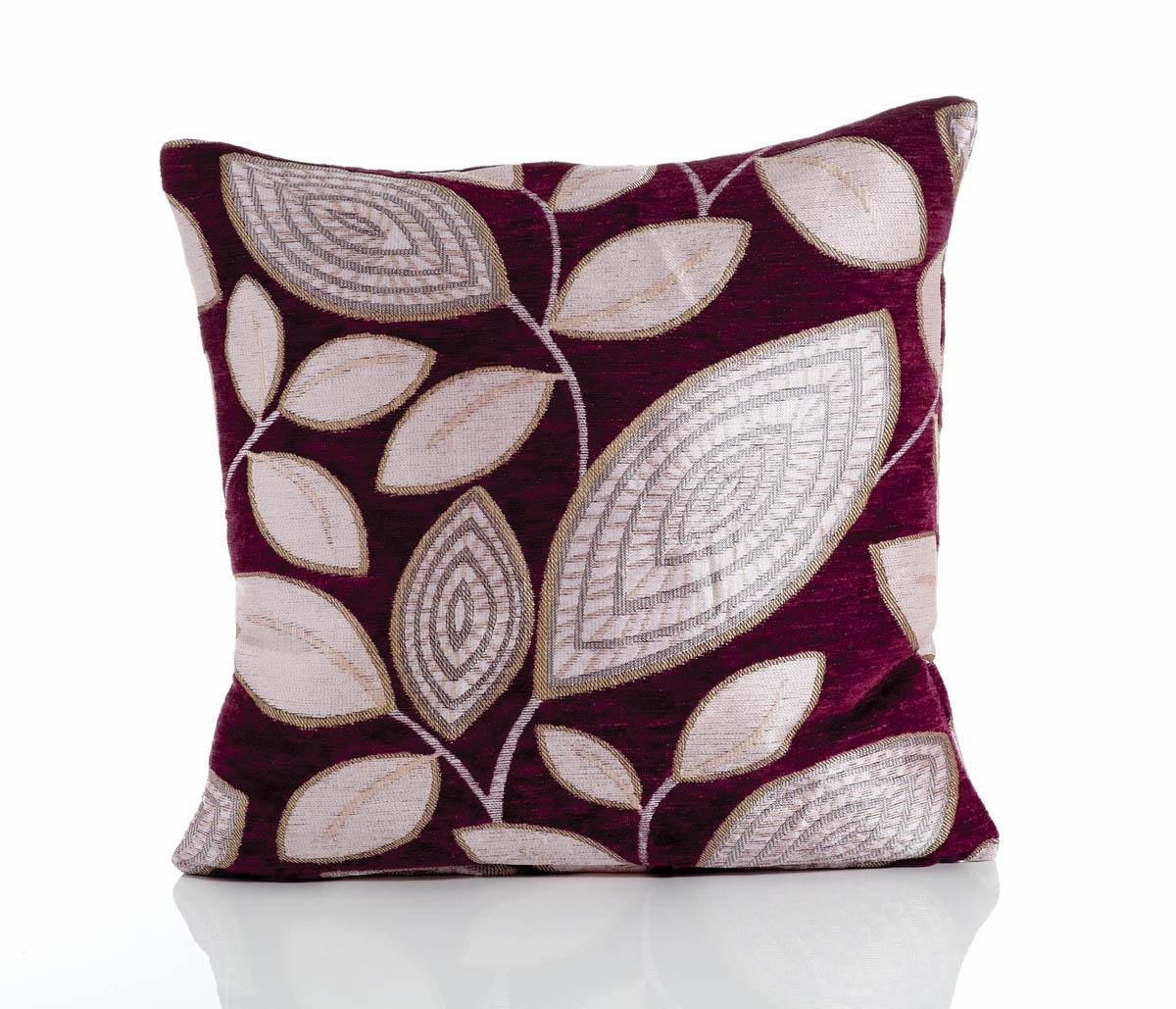 Purple London Leaf Filled Cushion