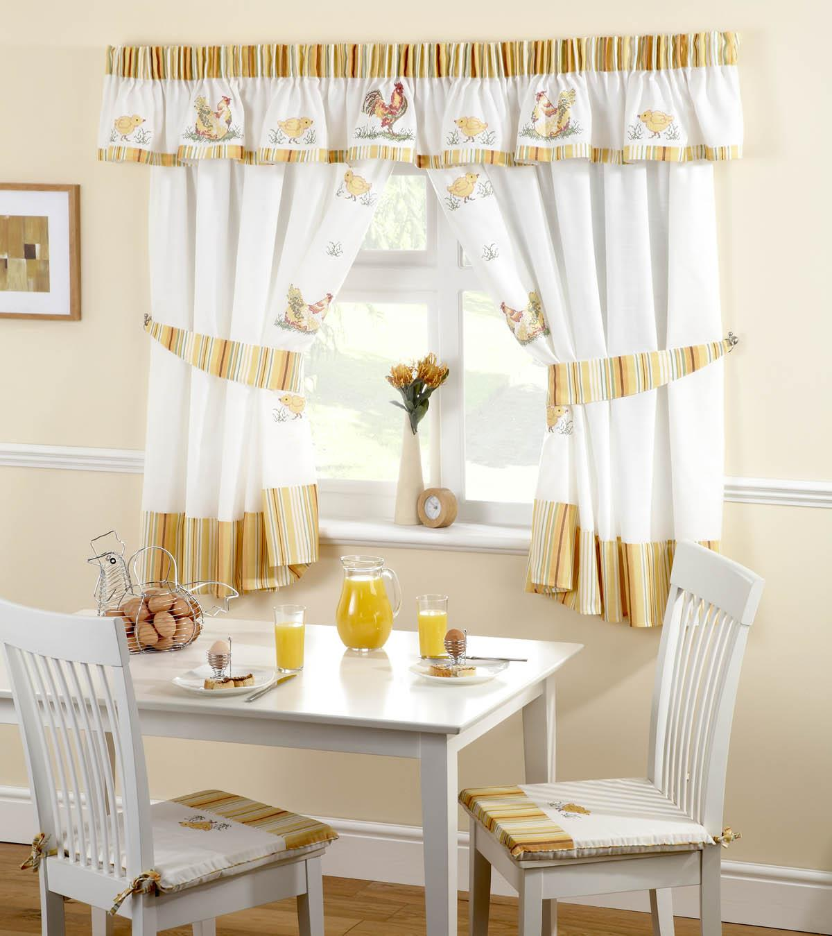 roosters kitchen curtains white yellow free uk delivery terrys