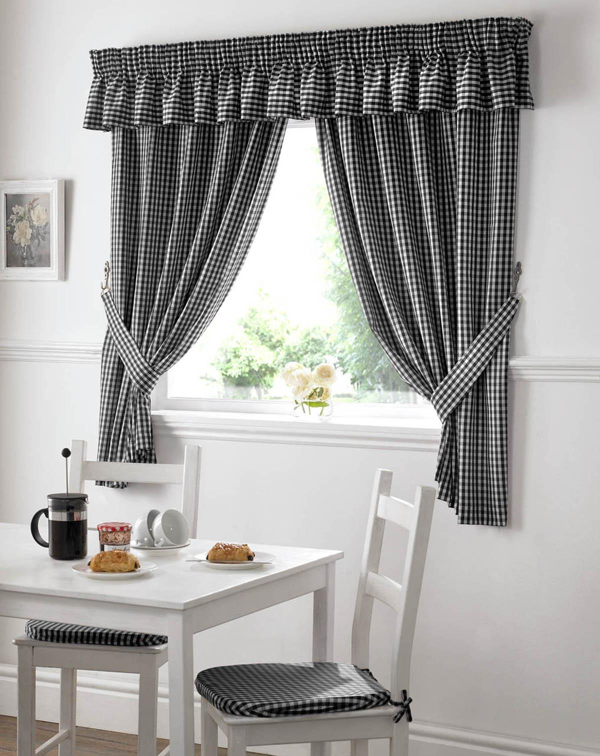Black and white checked curtains - Gingham Value Kitchen Curtains