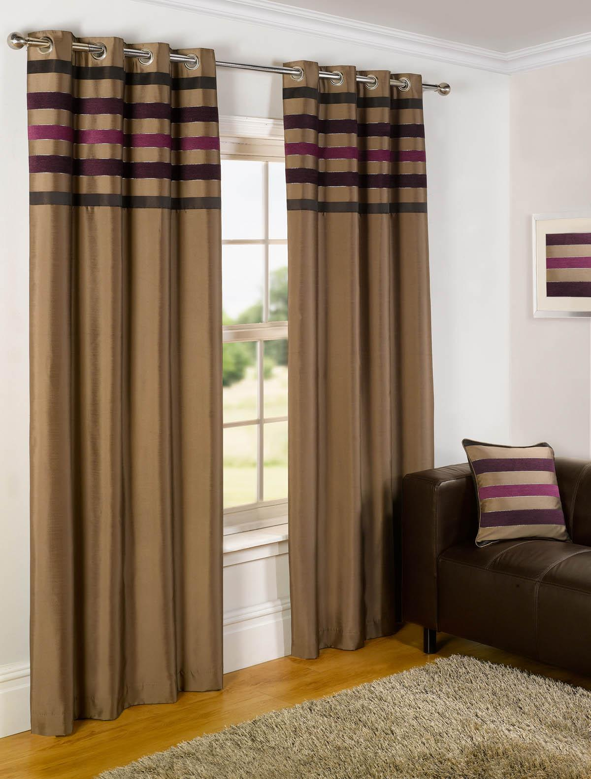 Plum curtains - Madison Ready Made Lined Eyelet Curtains