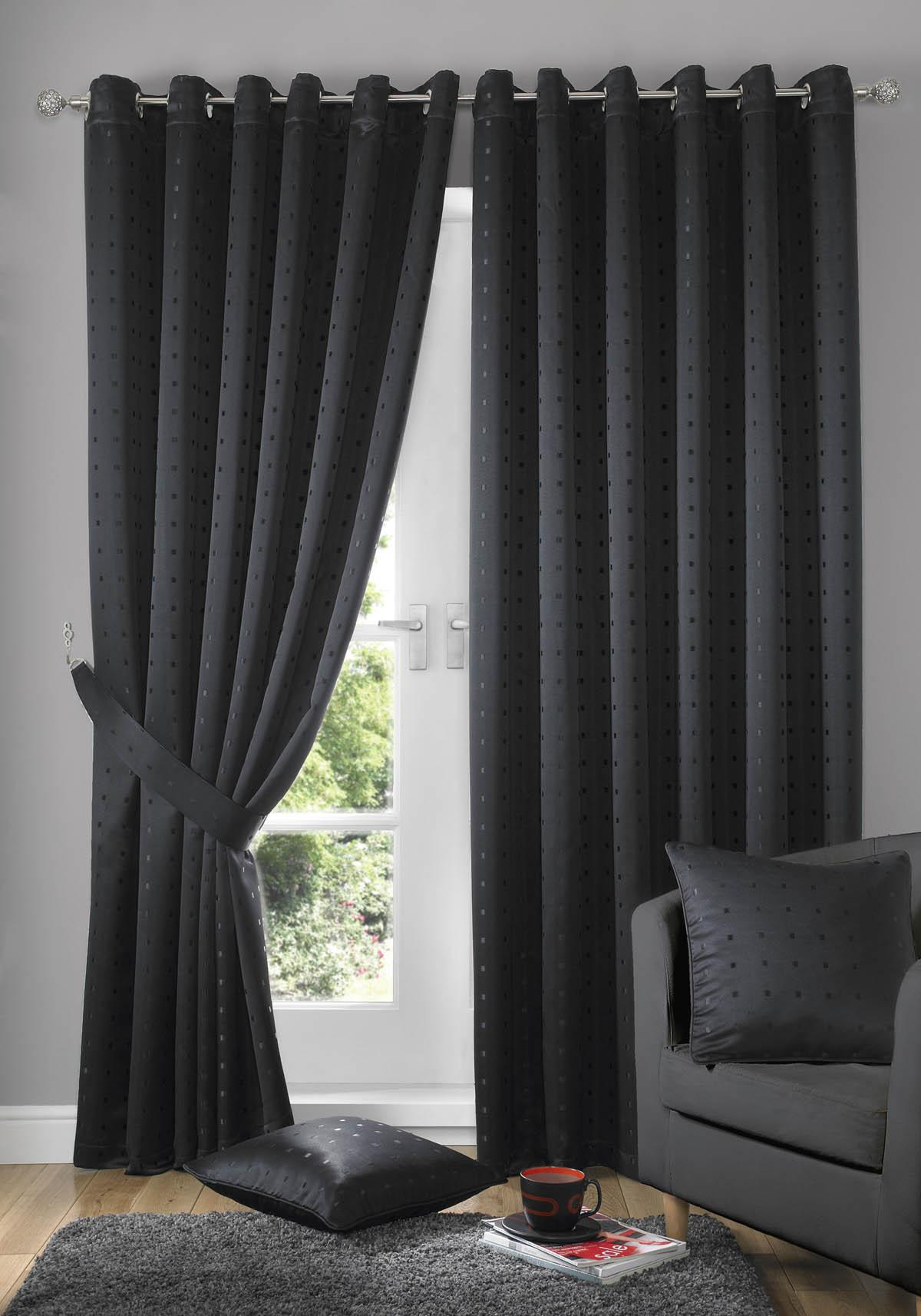 Madison Eyelet Lined Curtains Black Free UK Delivery