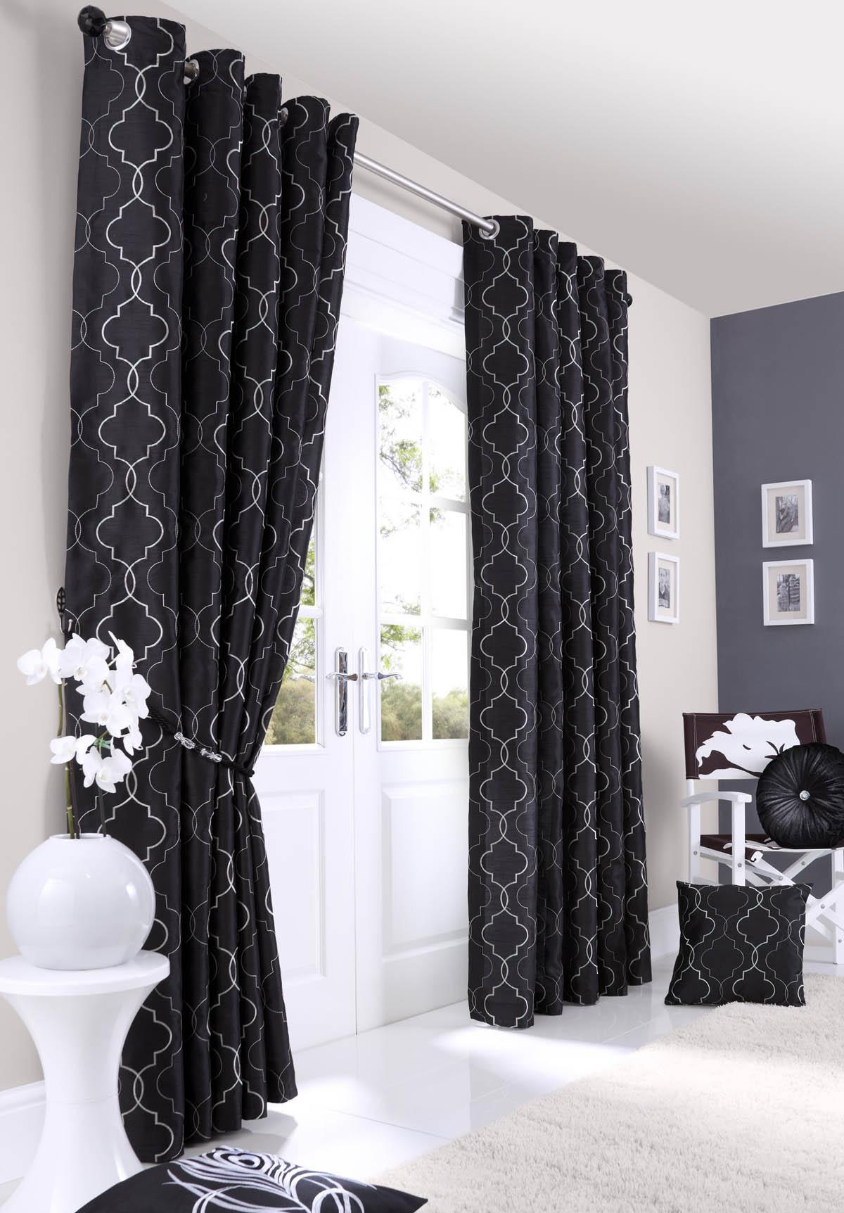 Black and white curtains - Midtown Eyelet Lined Curtains