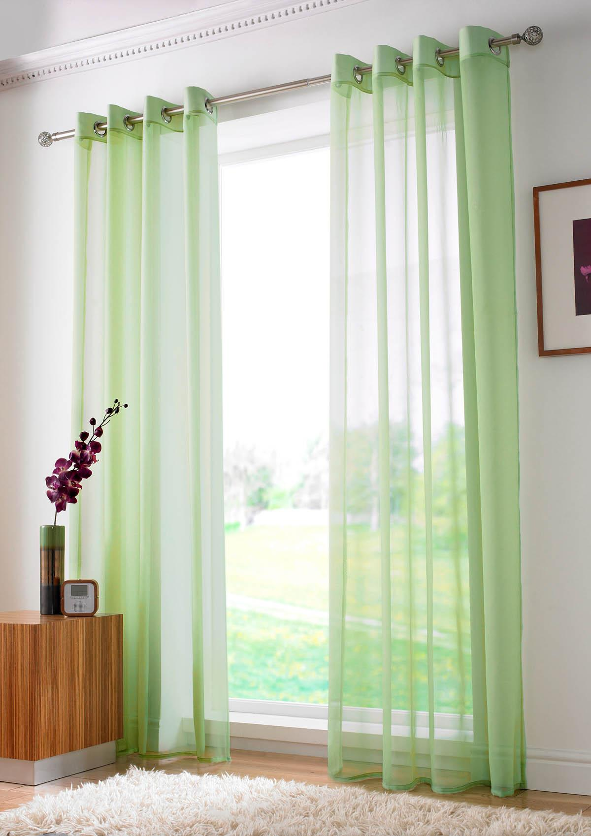 Slot top voile pair olive cheap green curtain voile uk delivery - Plain Ring Top Voile Lime Uk Delivery Terrys Fabrics