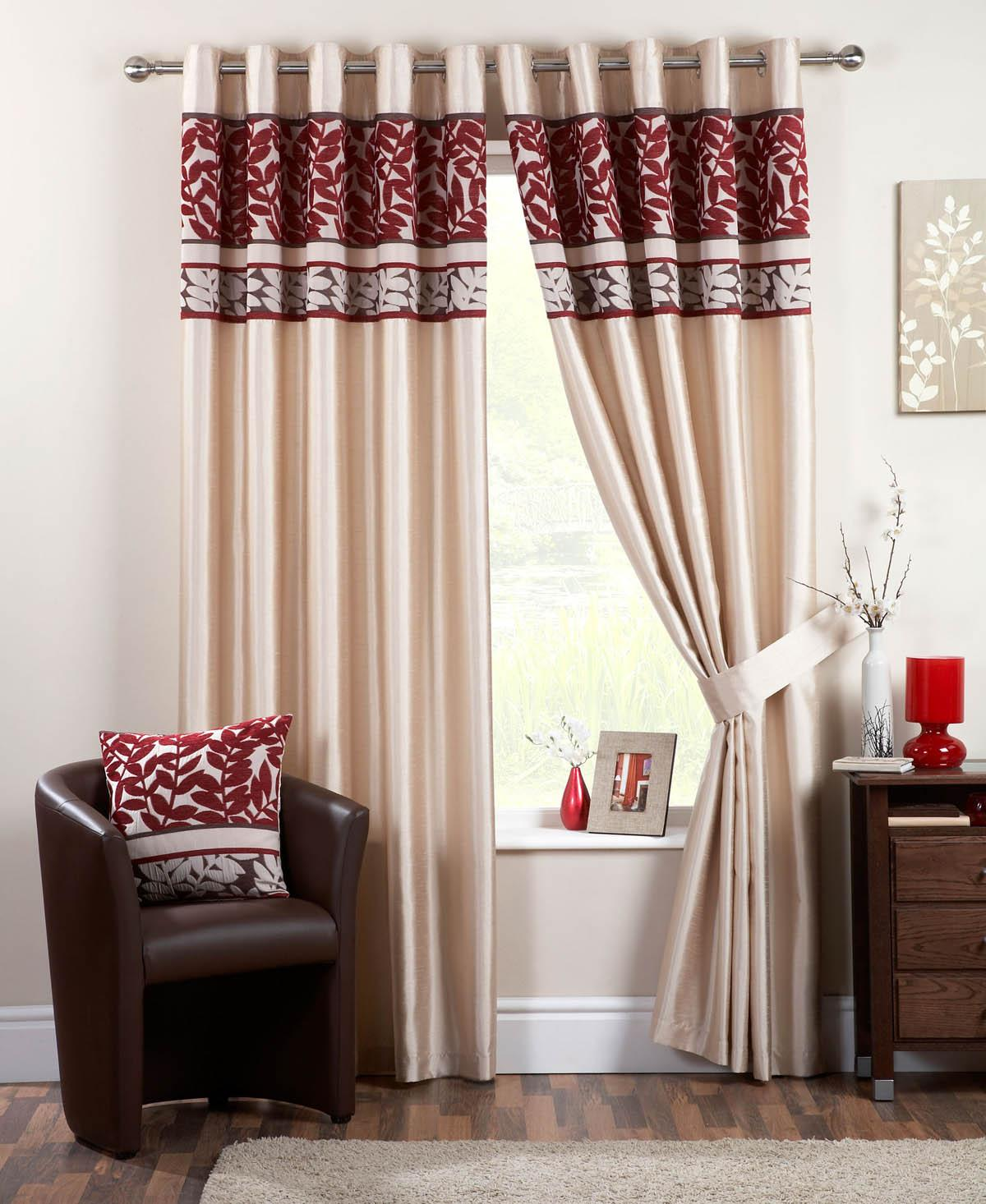 Red patterned curtains - Coniston Ready Made Eyelet Lined Curtains