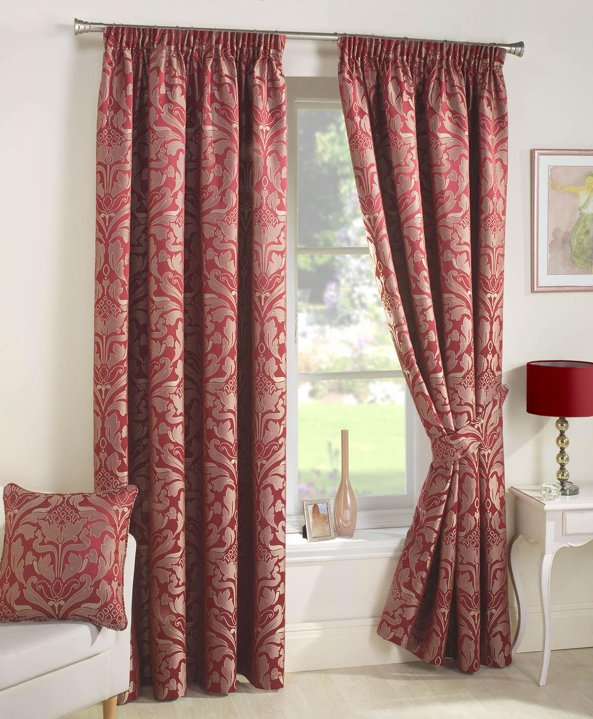 Red patterned curtains - Crompton Ready Made Lined Curtains
