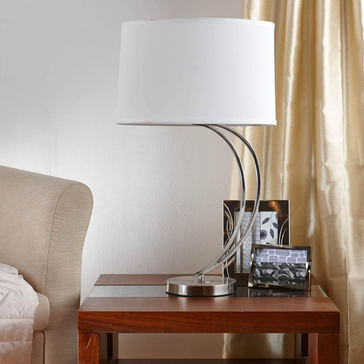 Chrome Crescent Table Lamp