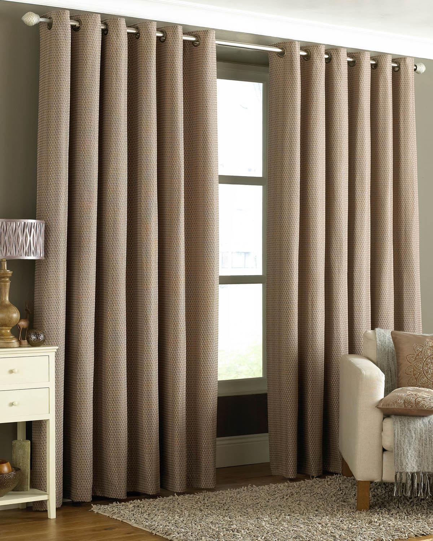 tobago ready made eyelet curtains mocha free uk delivery
