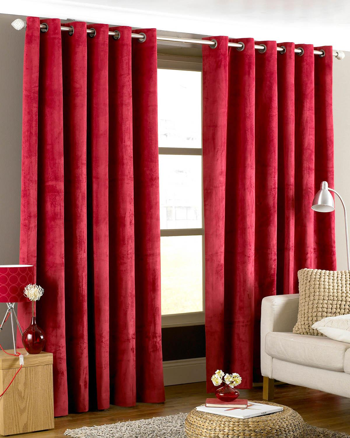 Red and cream window curtains - Emperor Ready Made Faux Suede Lined Eyelet Curtains