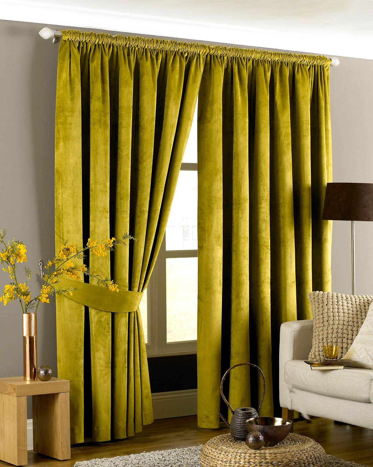 Slot top voile pair olive cheap green curtain voile uk delivery - Emperor Ready Made Faux Suede Lined Curtains