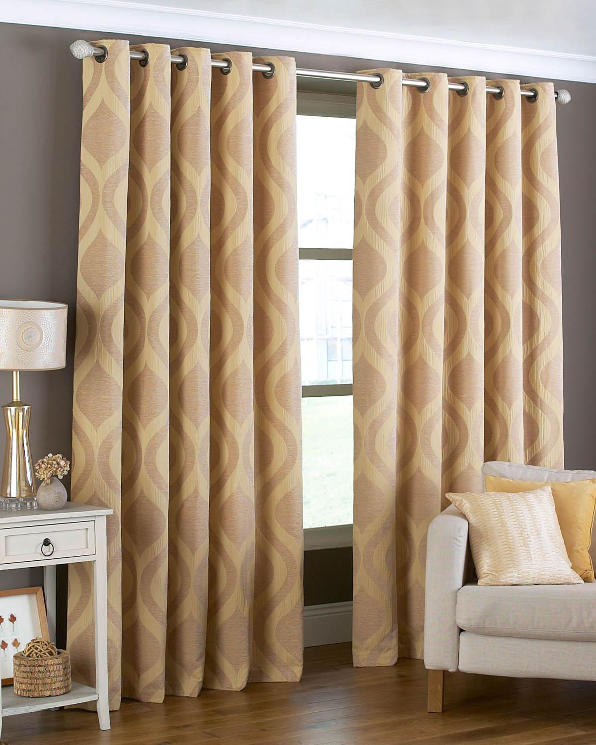 Gold curtains living room - Arch Ready Made Eyelet Curtains
