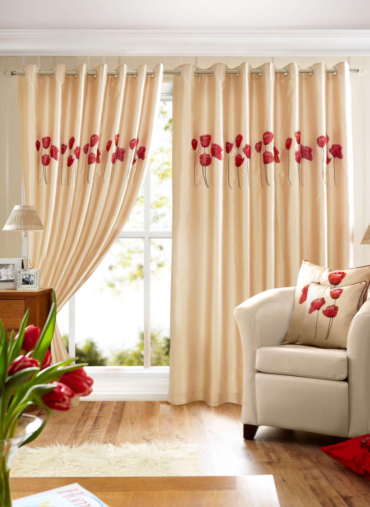 Poppies Ready Made Lined Eyelet Curtains Part 36