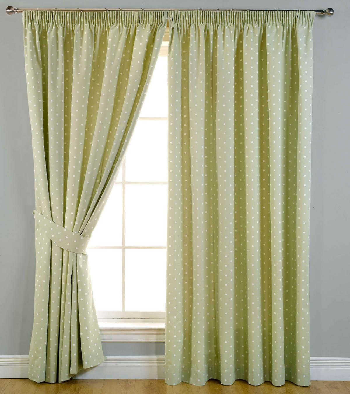 Dotty Ready Made Blackout Curtains Sage