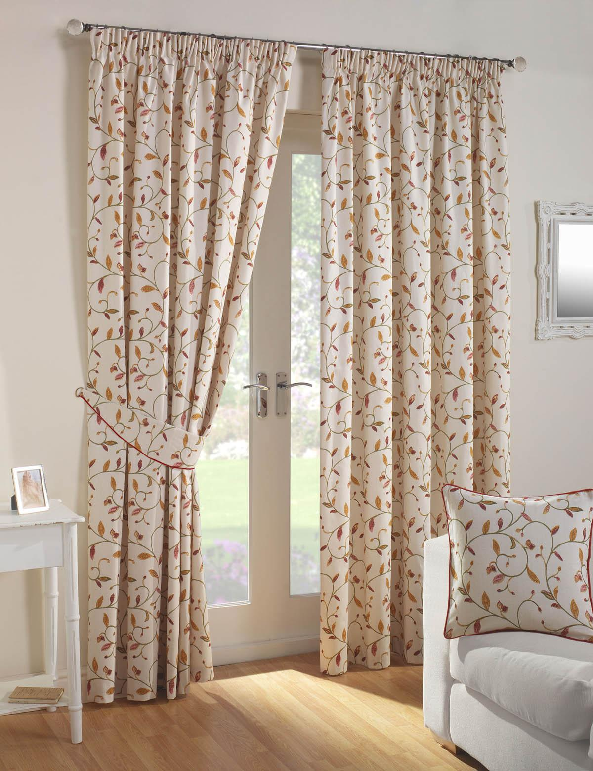 Leaf Trail Lined Curtains Autumn Free UK Delivery Terrys Fabrics - Autumn colours for the curtains