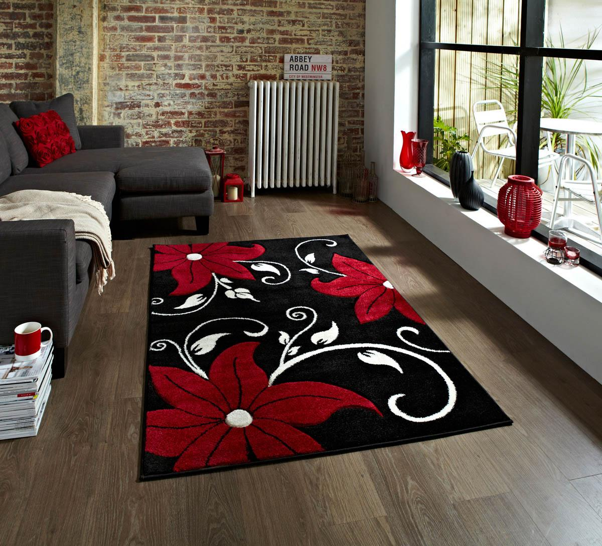 Verona OC15 Rug Black And Red Cheap Designer Rugs And Mats UK Delivery