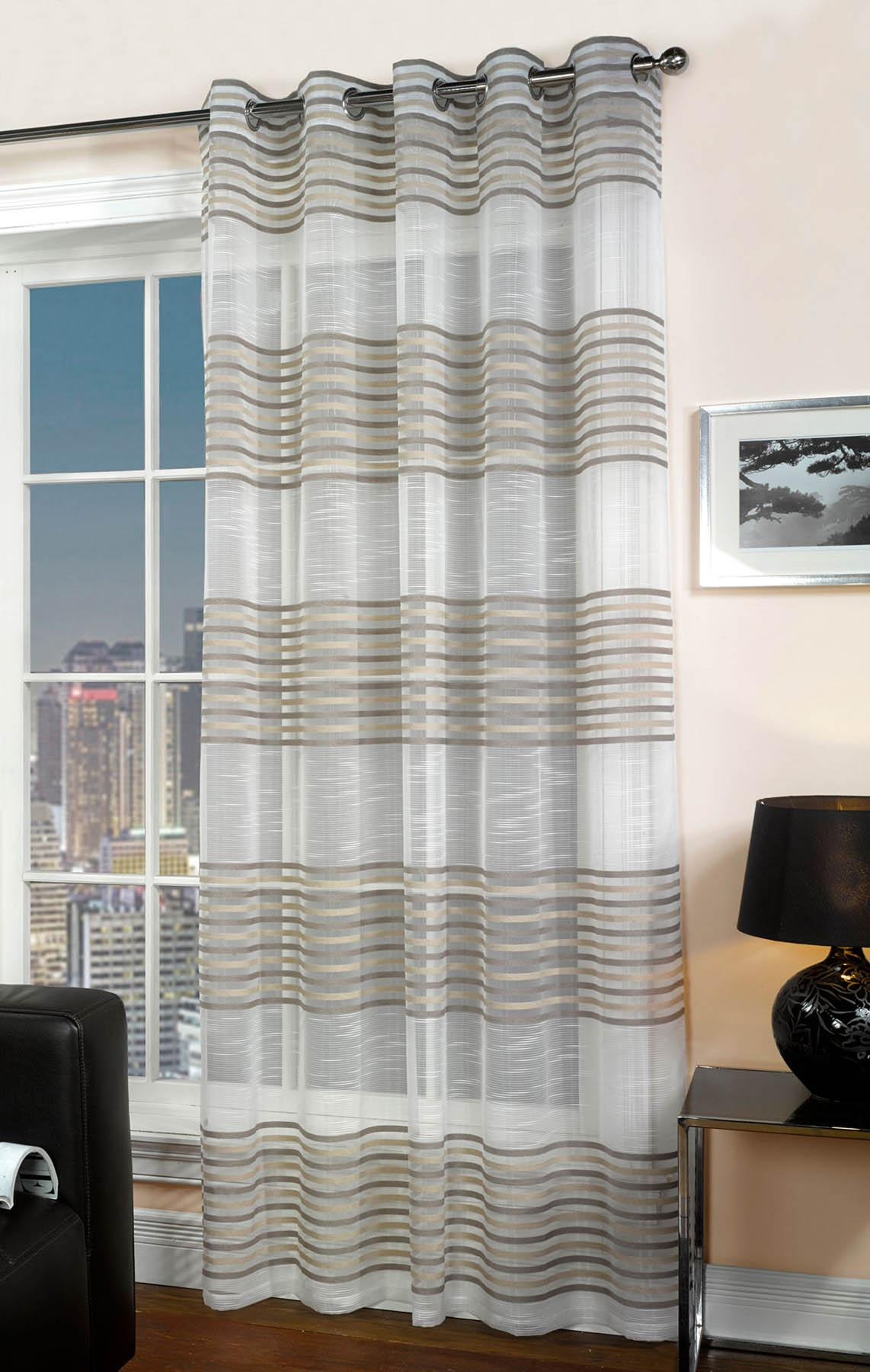 Voile curtain panel brown cheap green curtain voile uk delivery - Bologna Chenille Detail Eyelet Voile Curtain Panel