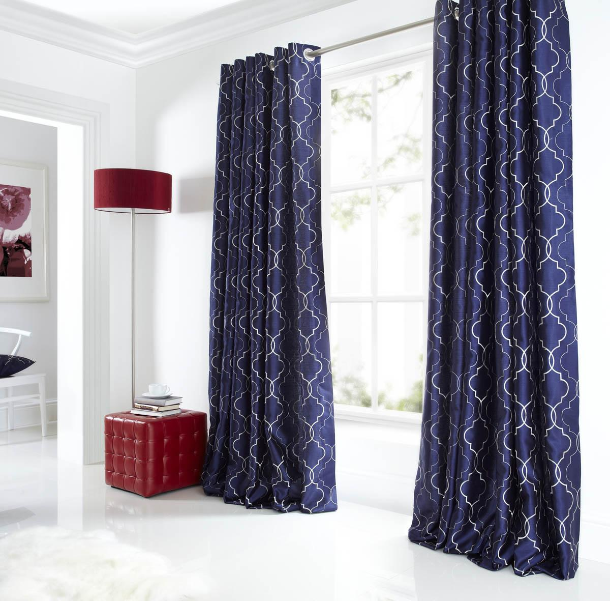 midtown eyelet lined curtains blue luxury ringtop