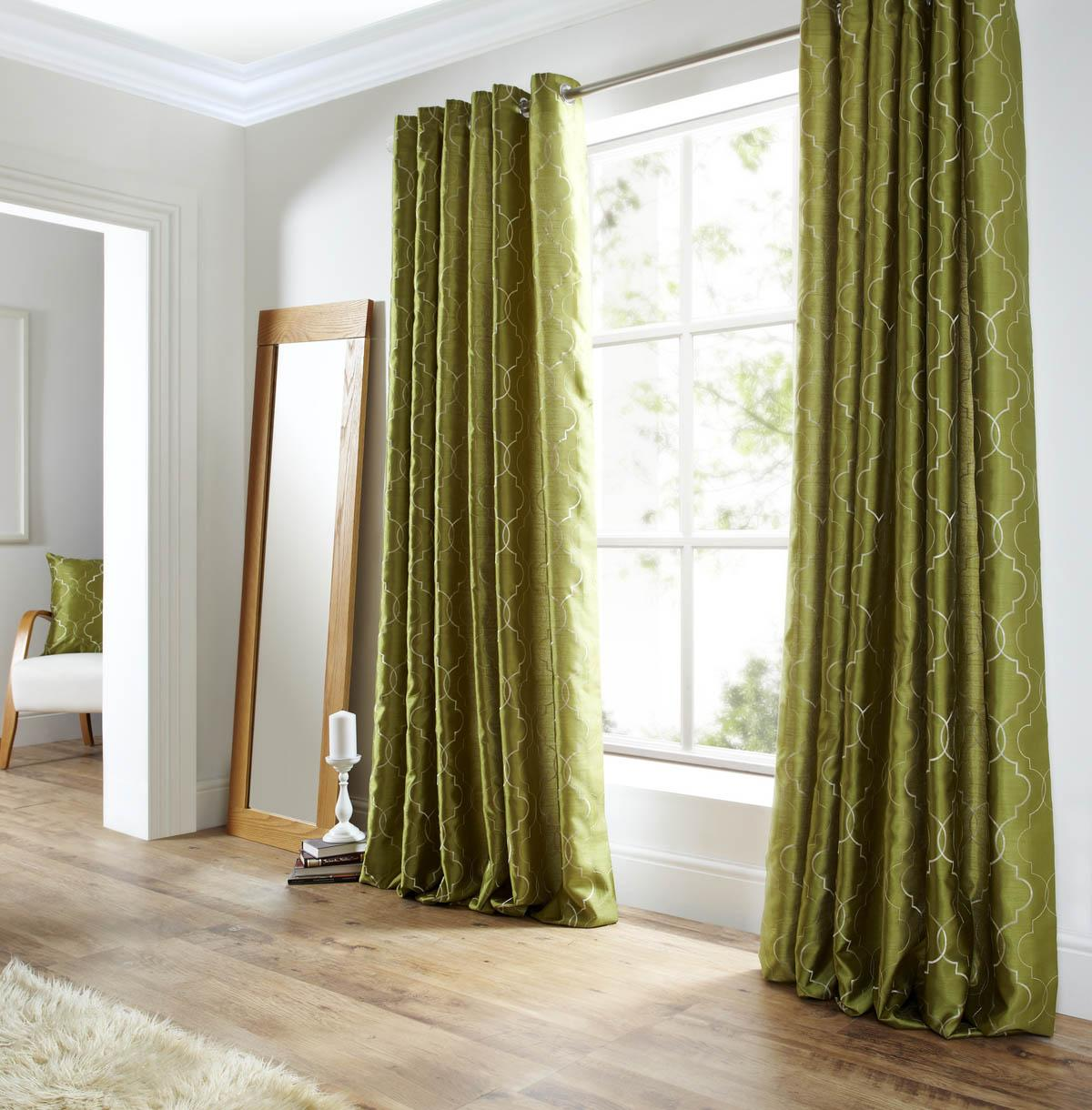 Midtown Eyelet Lined Curtains Green Free UK Delivery