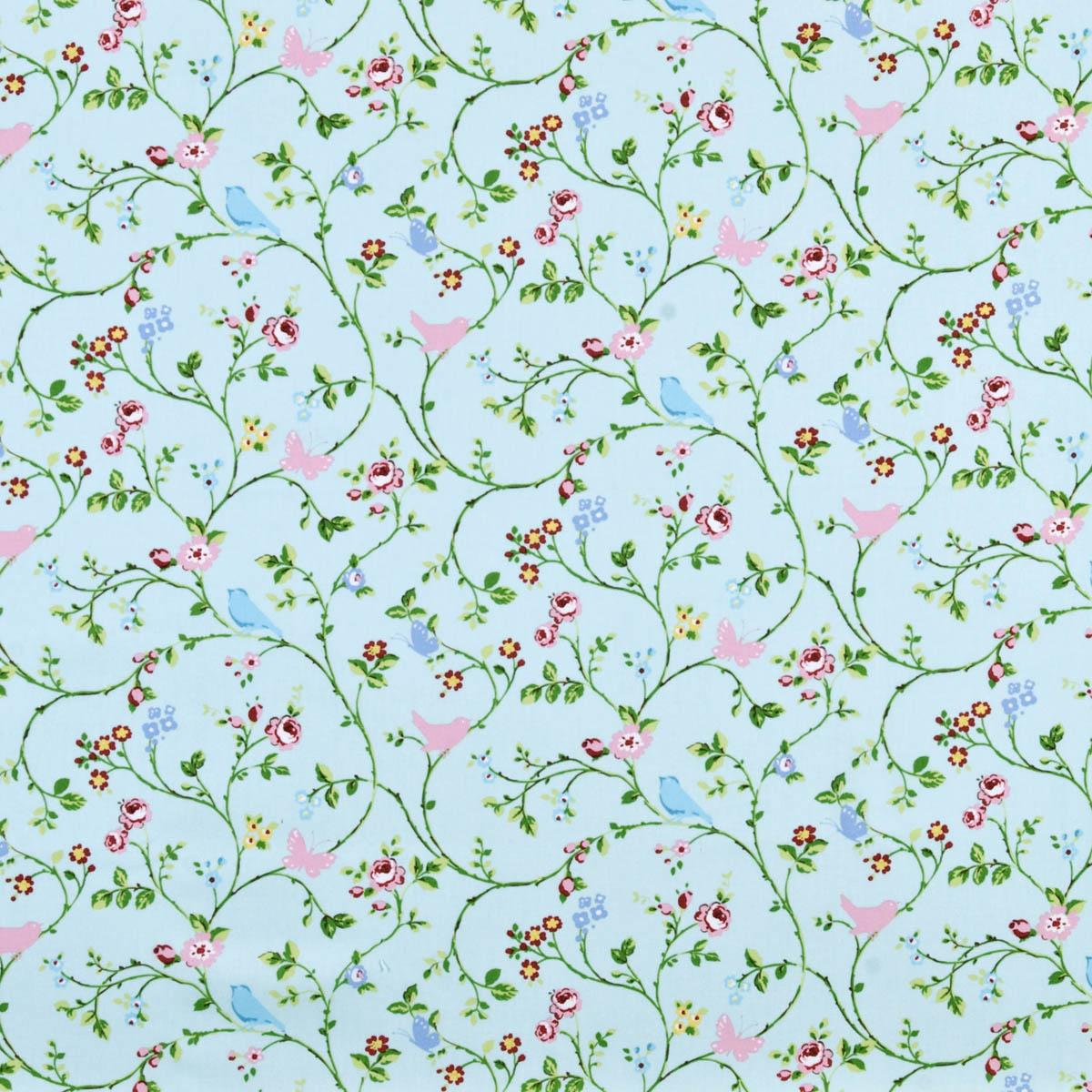 Bird Trail Curtain Fabric Seafoam Printed Fabric In Pink