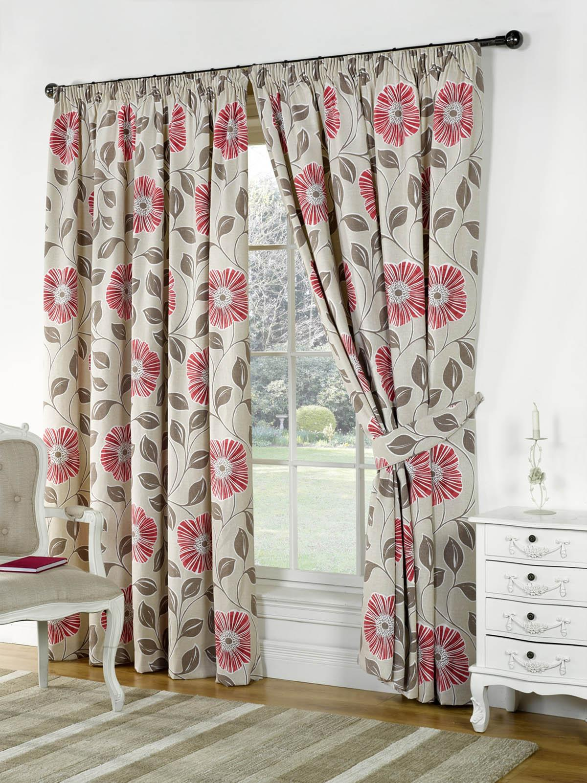 Poppies Ready Made Lined Curtains Part 34