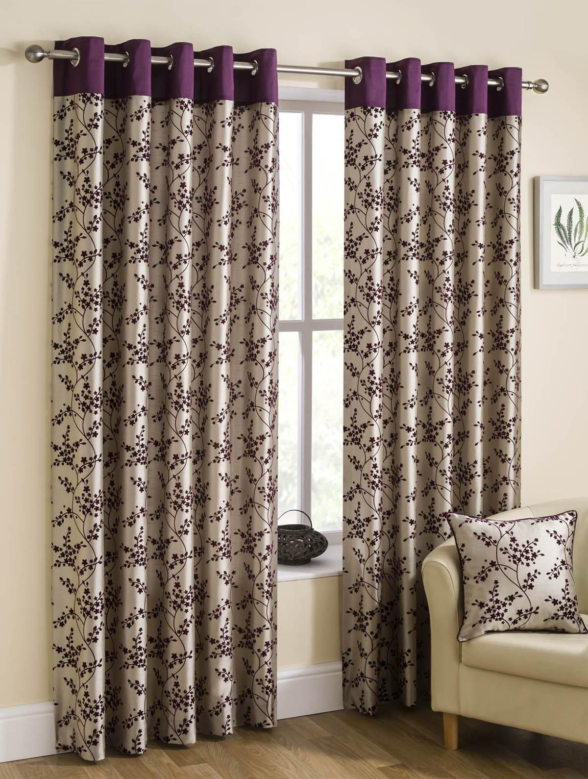 Purple silk curtains - Blossom Ready Made Lined Eyelet Curtains