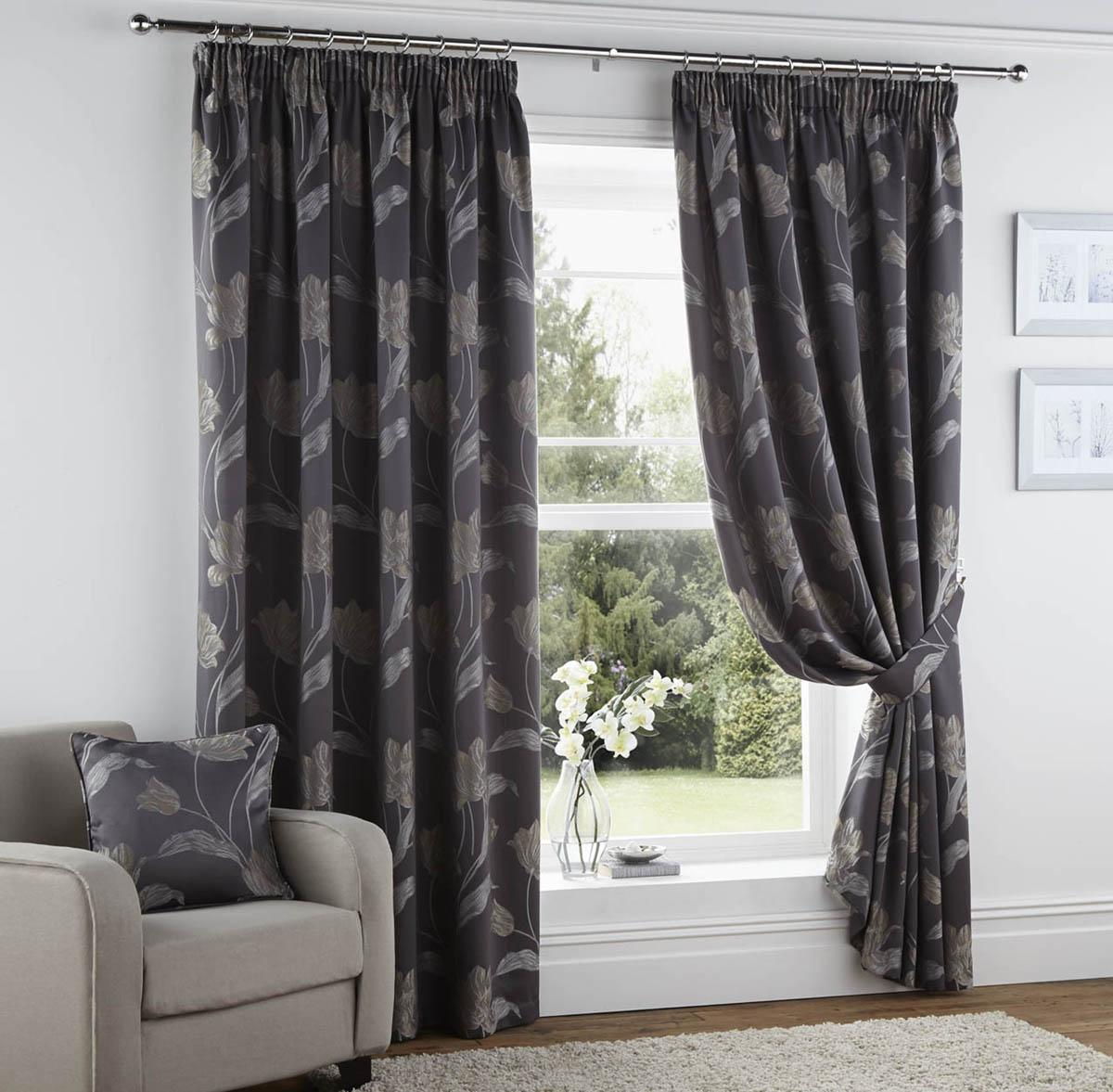 Cheap grey curtains - Sissinghurst Ready Made Lined Curtains