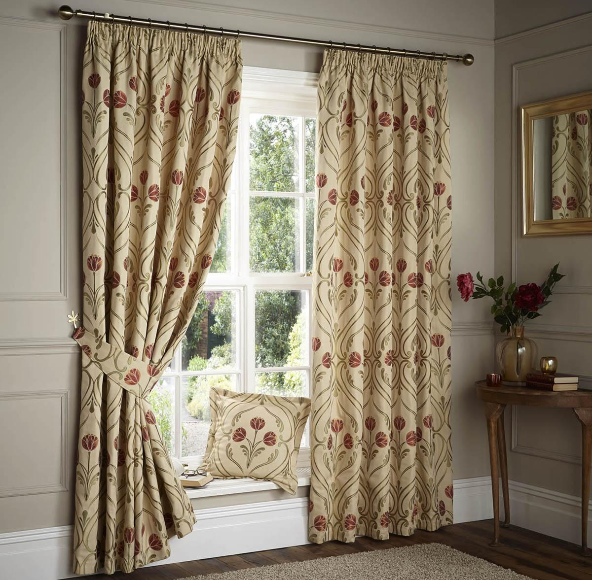 Nouveau Lined Curtains Terracotta Free UK Delivery