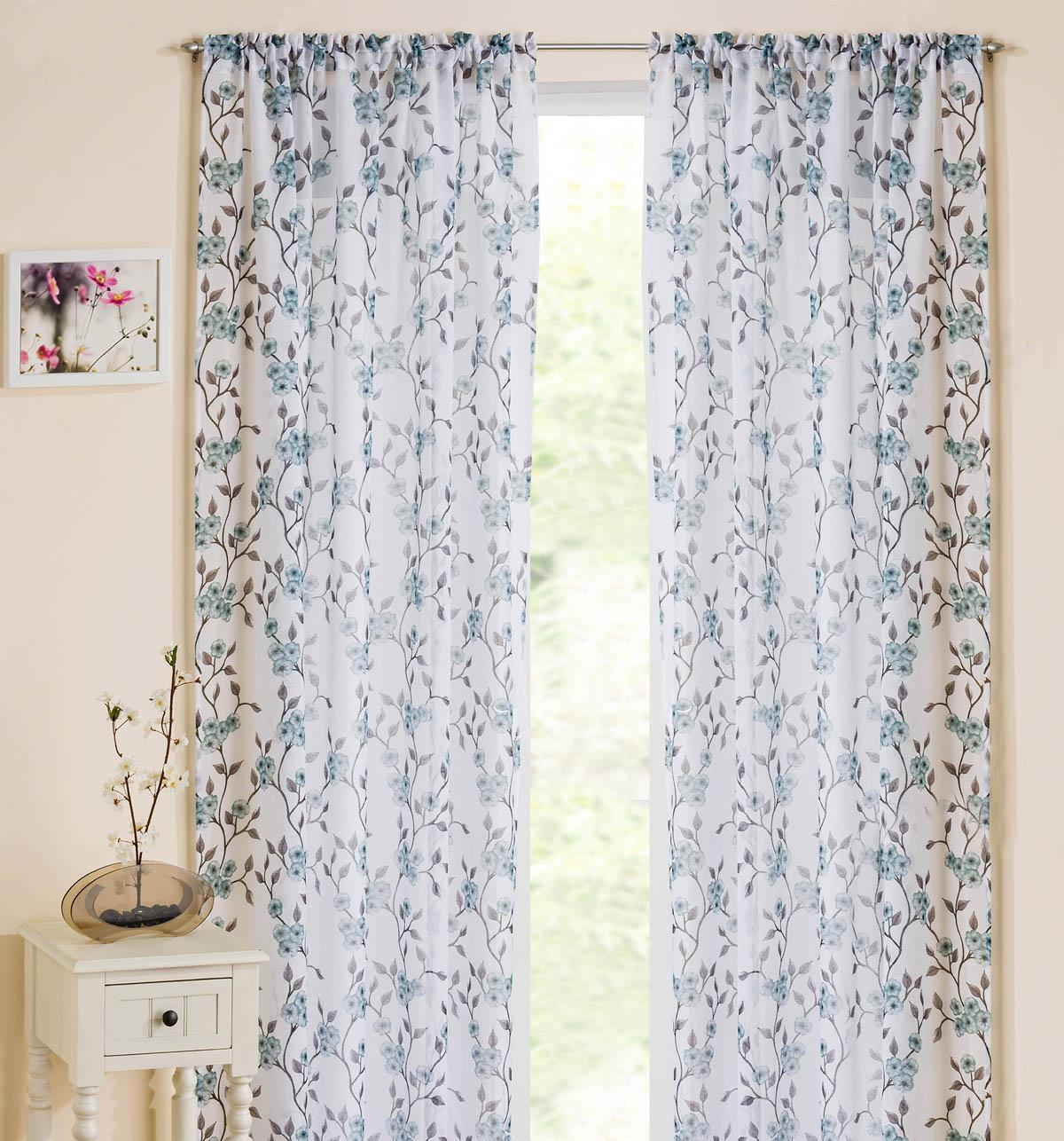 Blue Floral Window Curtains   Blossom Slot Top Voile Panel  Blue Floral Curtains