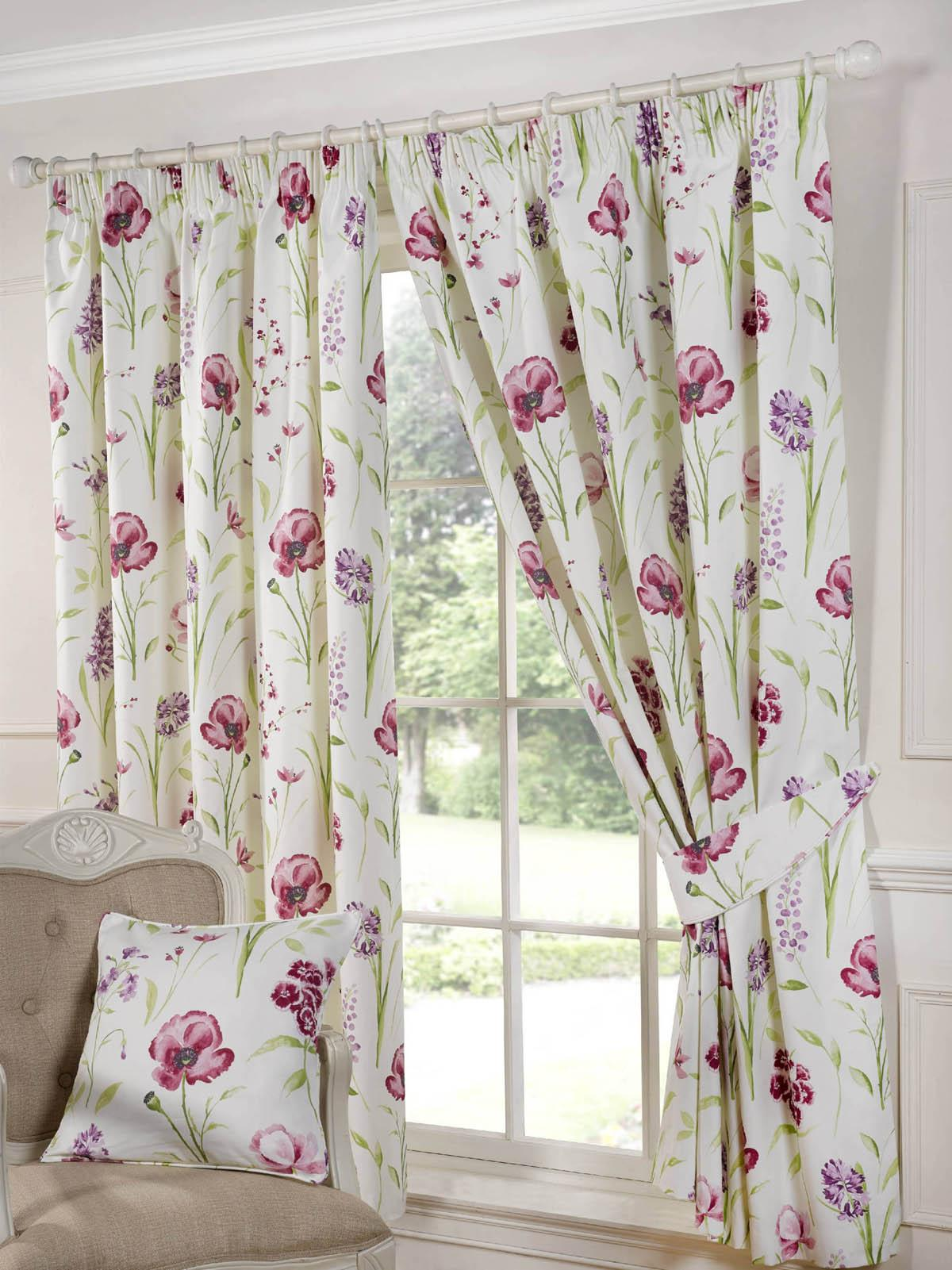 Ellie Ready Made Lined Curtains Red Free UK Delivery Terrys - Ready made curtains red