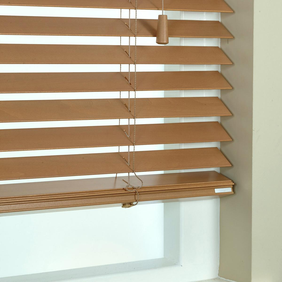 Superb img of 50mm Elementi Wood Venetian Blind Beech with #714E2C color and 1200x1200 pixels