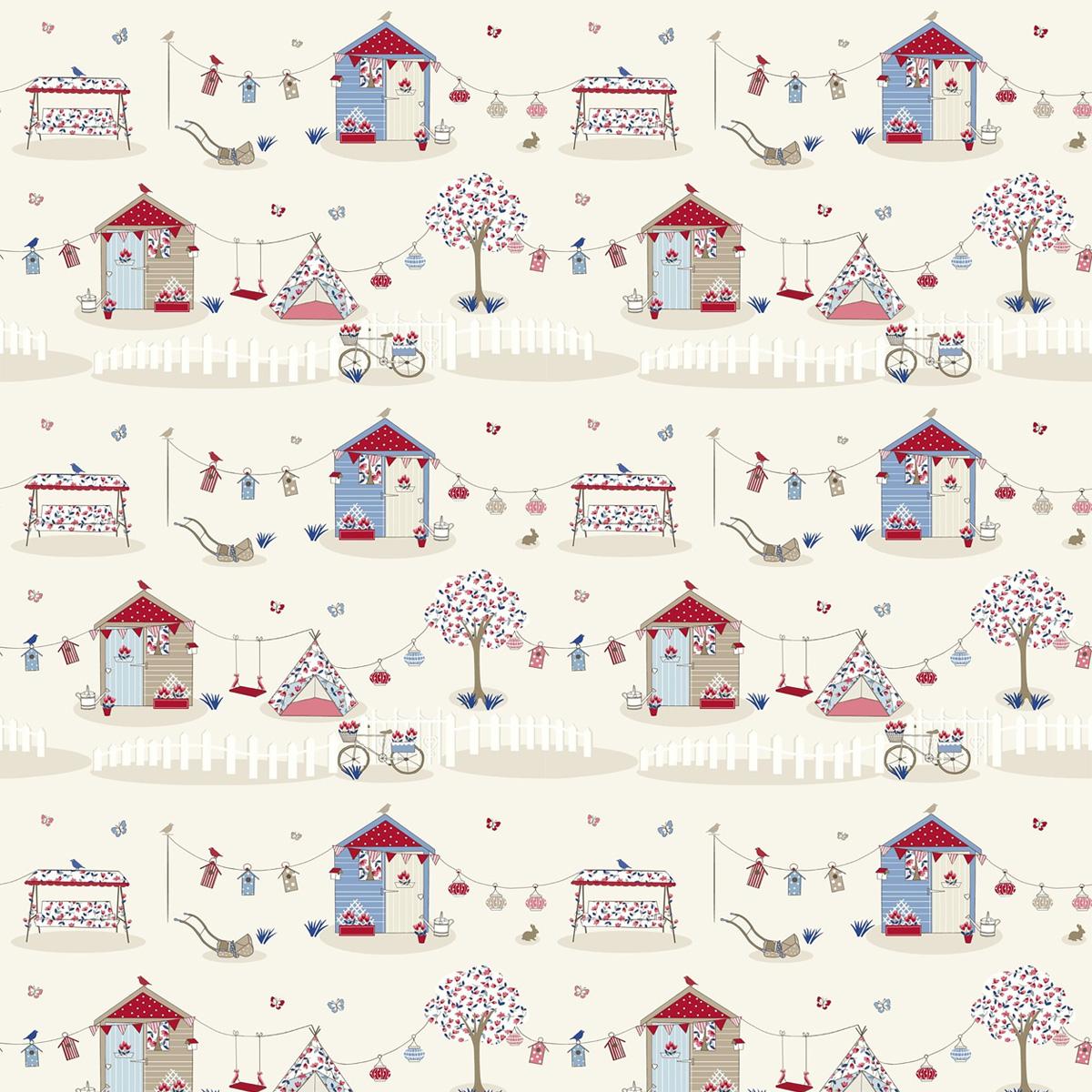 Blue Summer Holidays Curtain Fabric