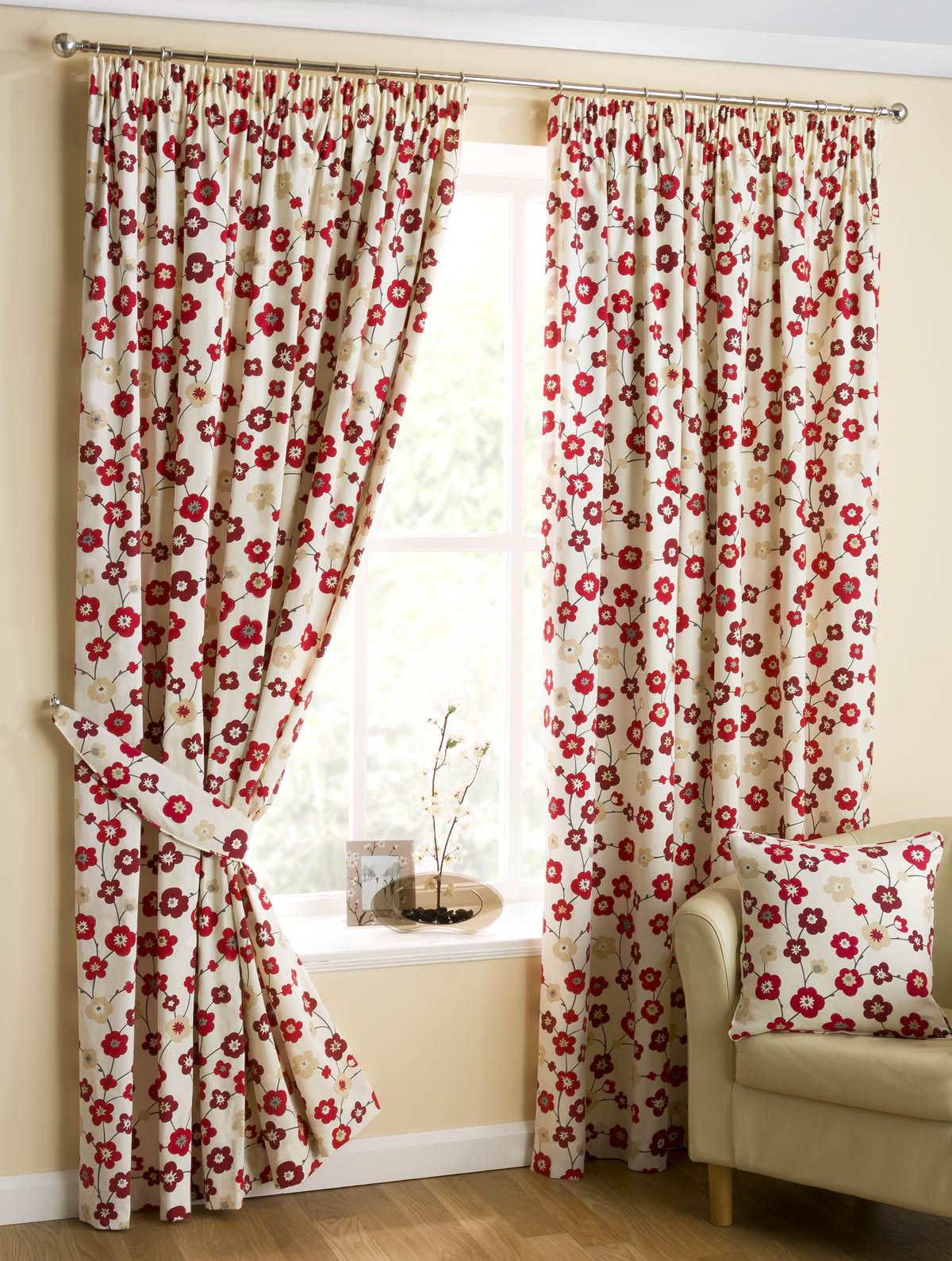 Red patterned curtains - Japanese Blossom Ready Made Lined Curtains