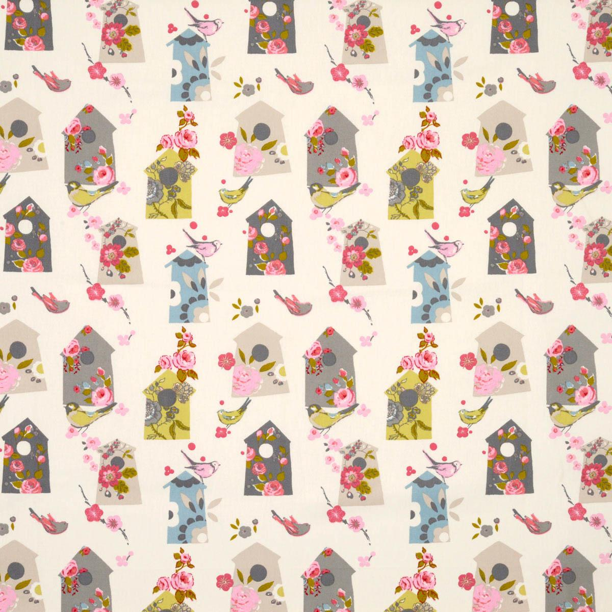 Birdhouse Curtain Fabric Natural Free UK Delivery