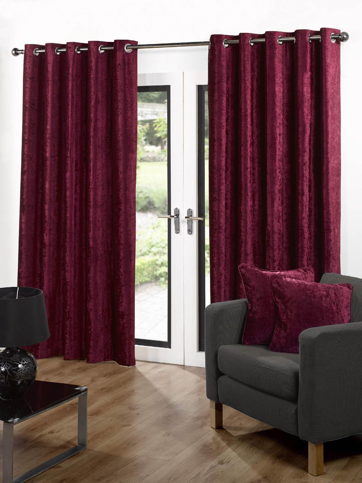 Velvet Ready Made Eyelet Curtains Red Free Uk Delivery