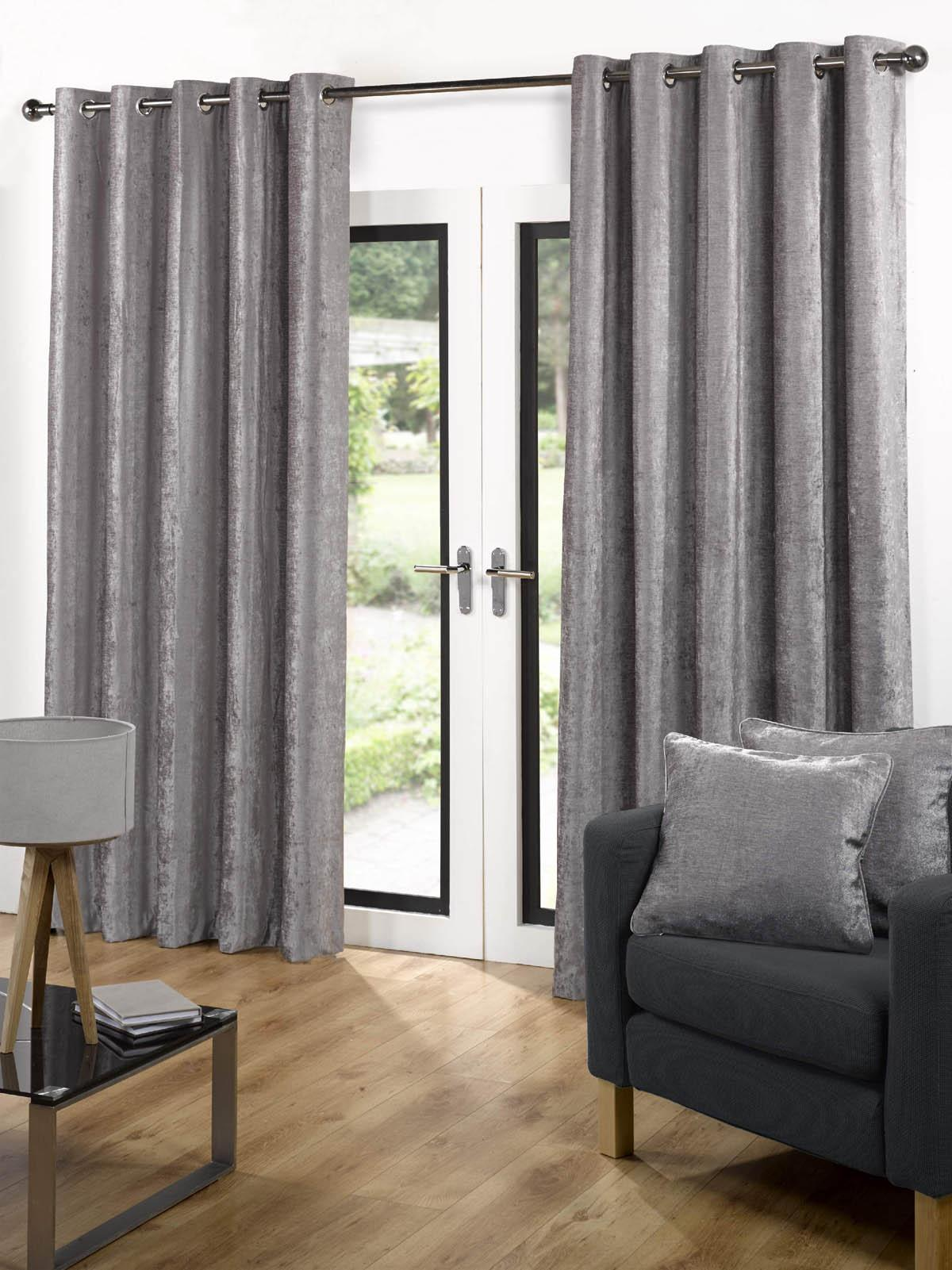 Velvet Ready Made Eyelet Curtains Grey