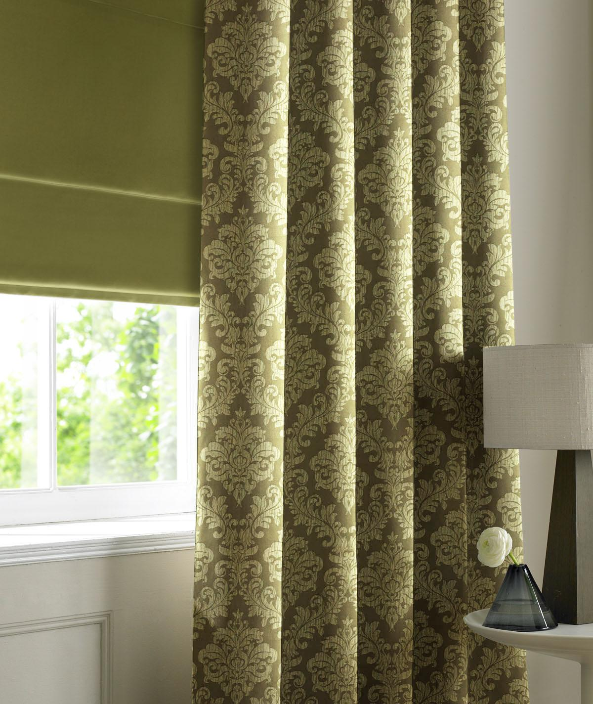 Curtains Ideas damask curtain : Lime Damask Made to Measure Curtains (damask lime)