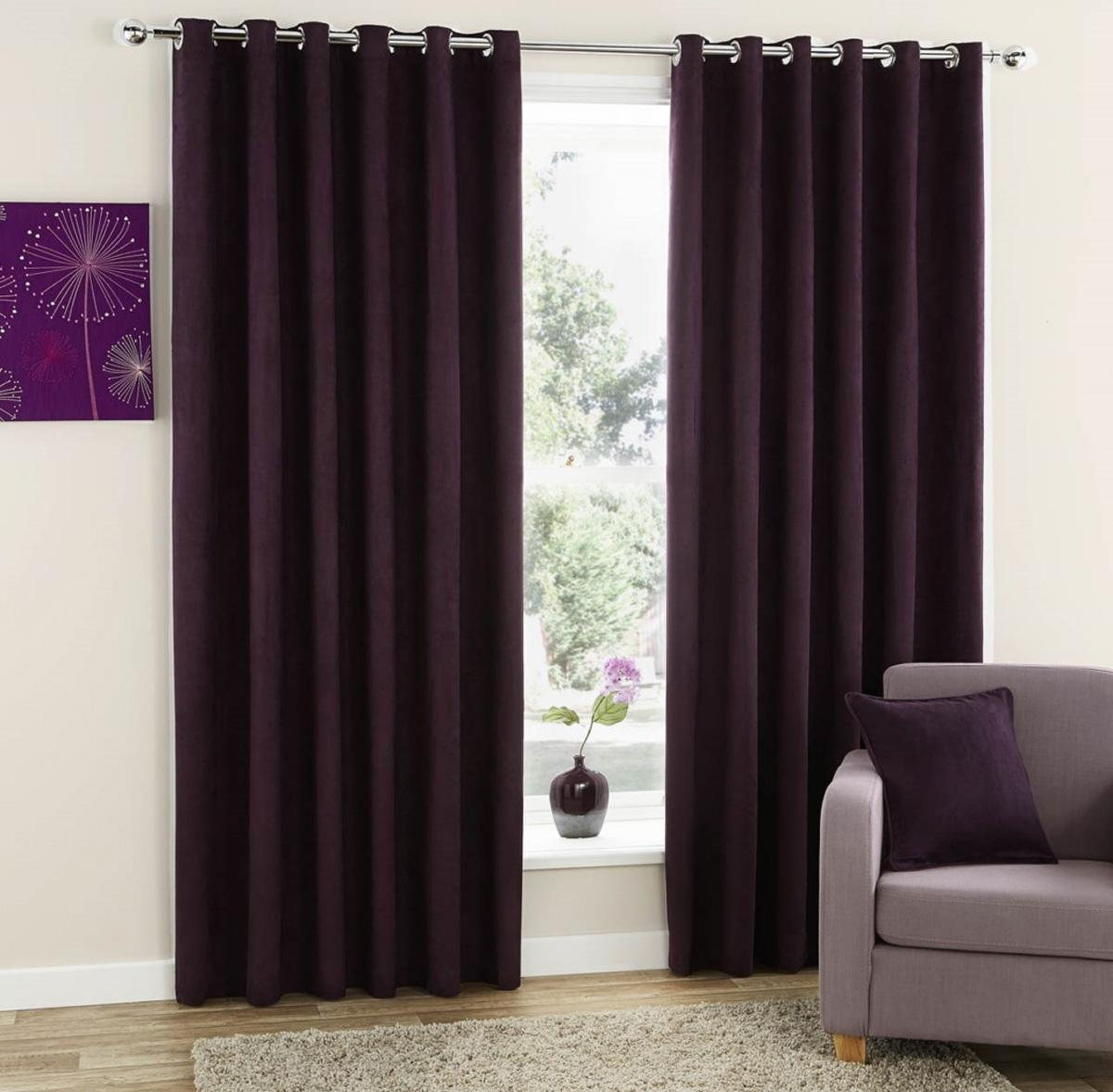 Dark purple patterned curtains - Faux Suede Ready Made Eyelet Curtains