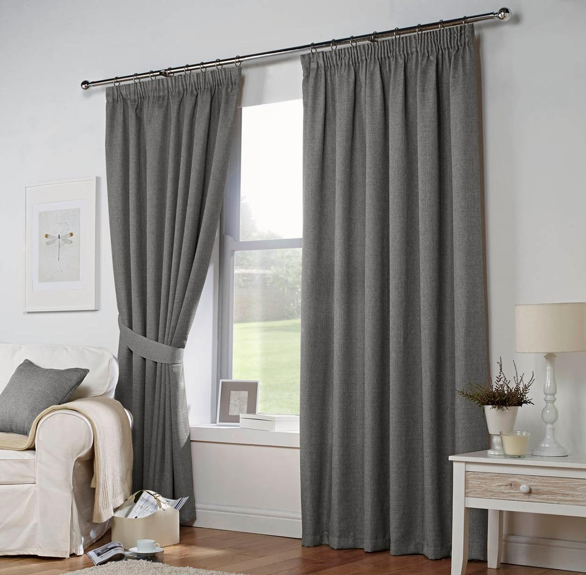 Leighton Ready Made Curtains In Grey