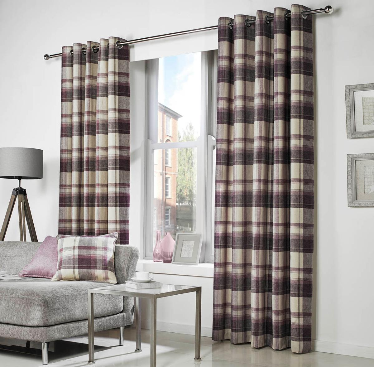Purple Curtains For Living Room Purple Check Curtains Contemporary Curtains Terrys Fabrics