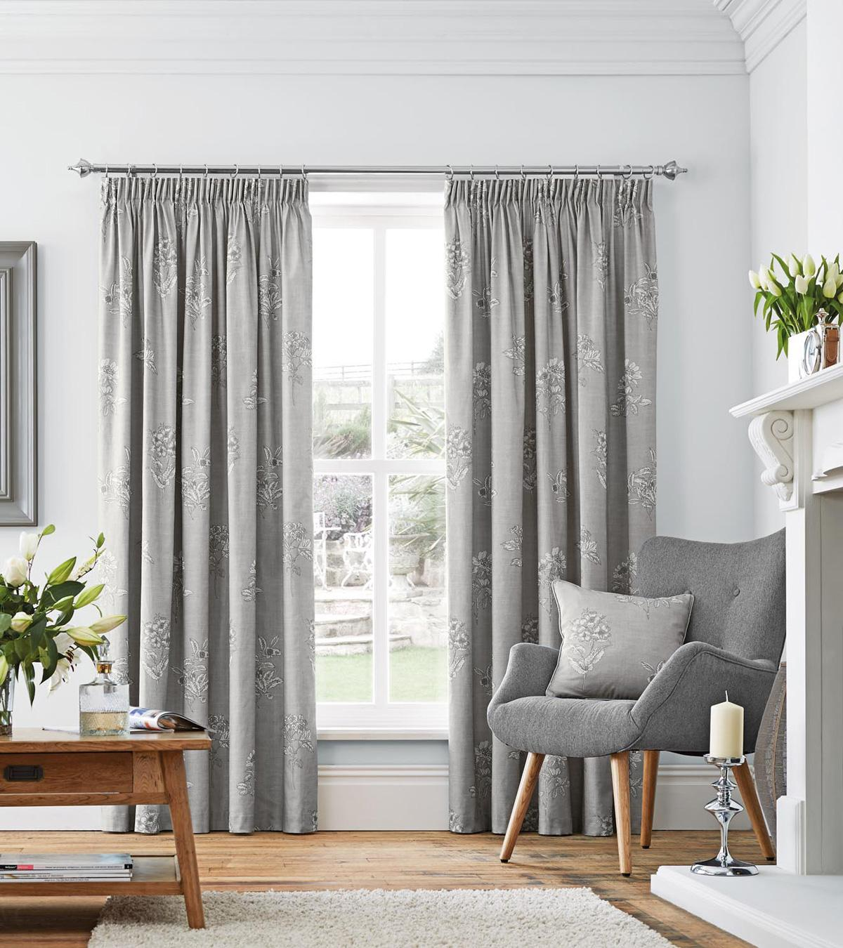 flora ready made lined curtains in dove free uk delivery terrys