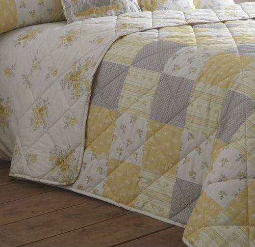 Patsy Quilted Bedspread in Lemon - Terrys Fabrics UK : quilted bed cover - Adamdwight.com