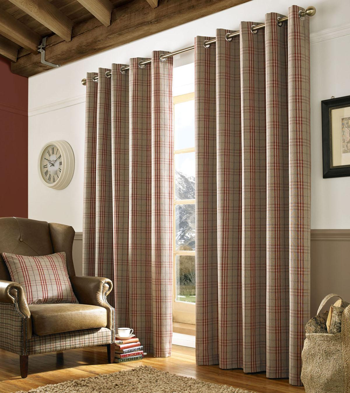 Red Archie Curtain Eyelet Curtains Free UK Delivery Terrys Fabrics - Ready made curtains red