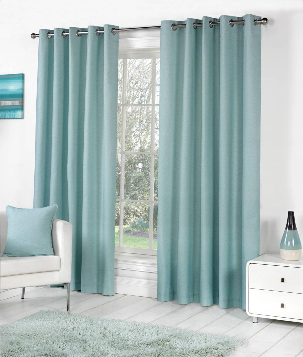 Sorbonne Eyelet Curtains In Duck Egg