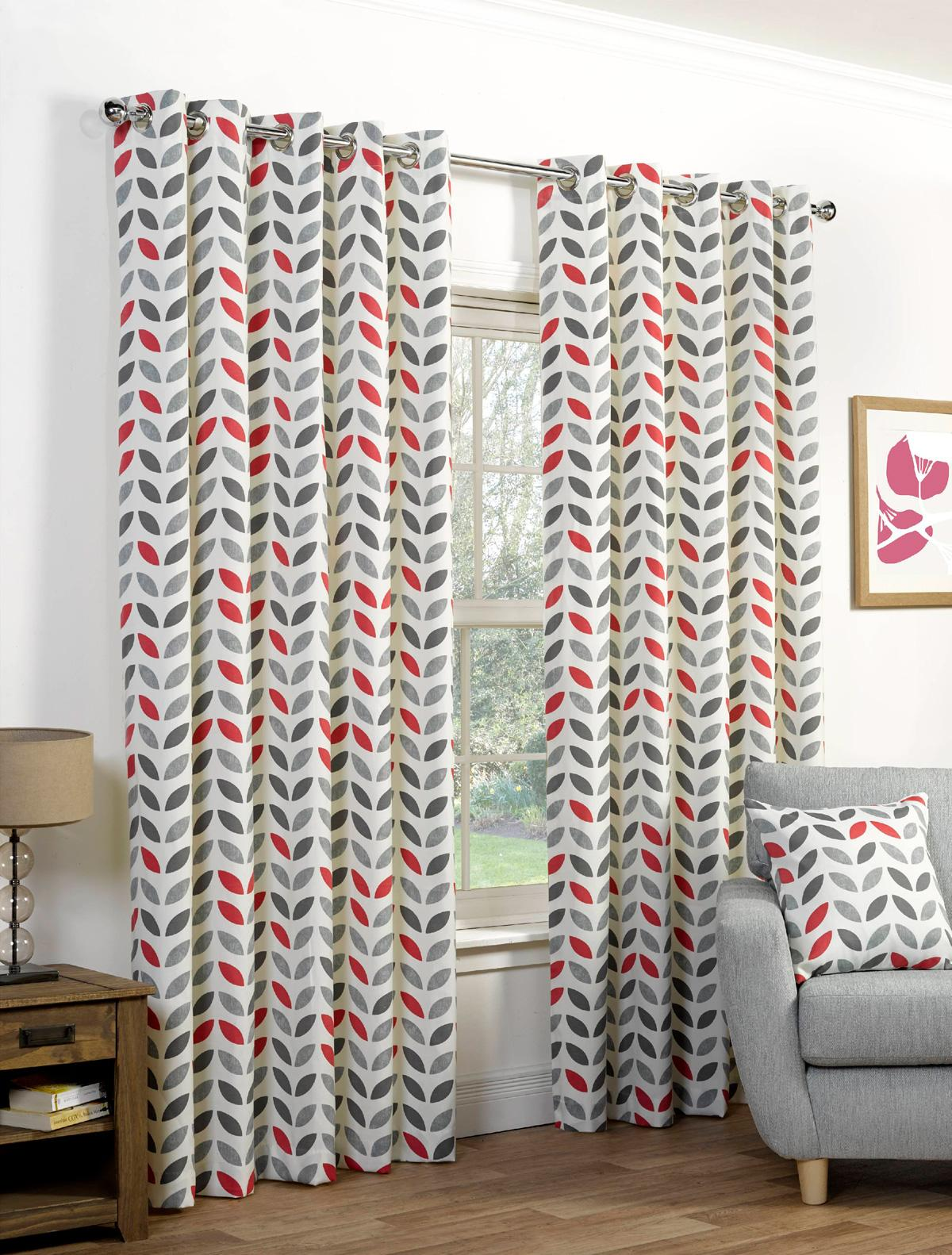 Neo Eyelet Curtains In Greyred Free UK Delivery Terrys
