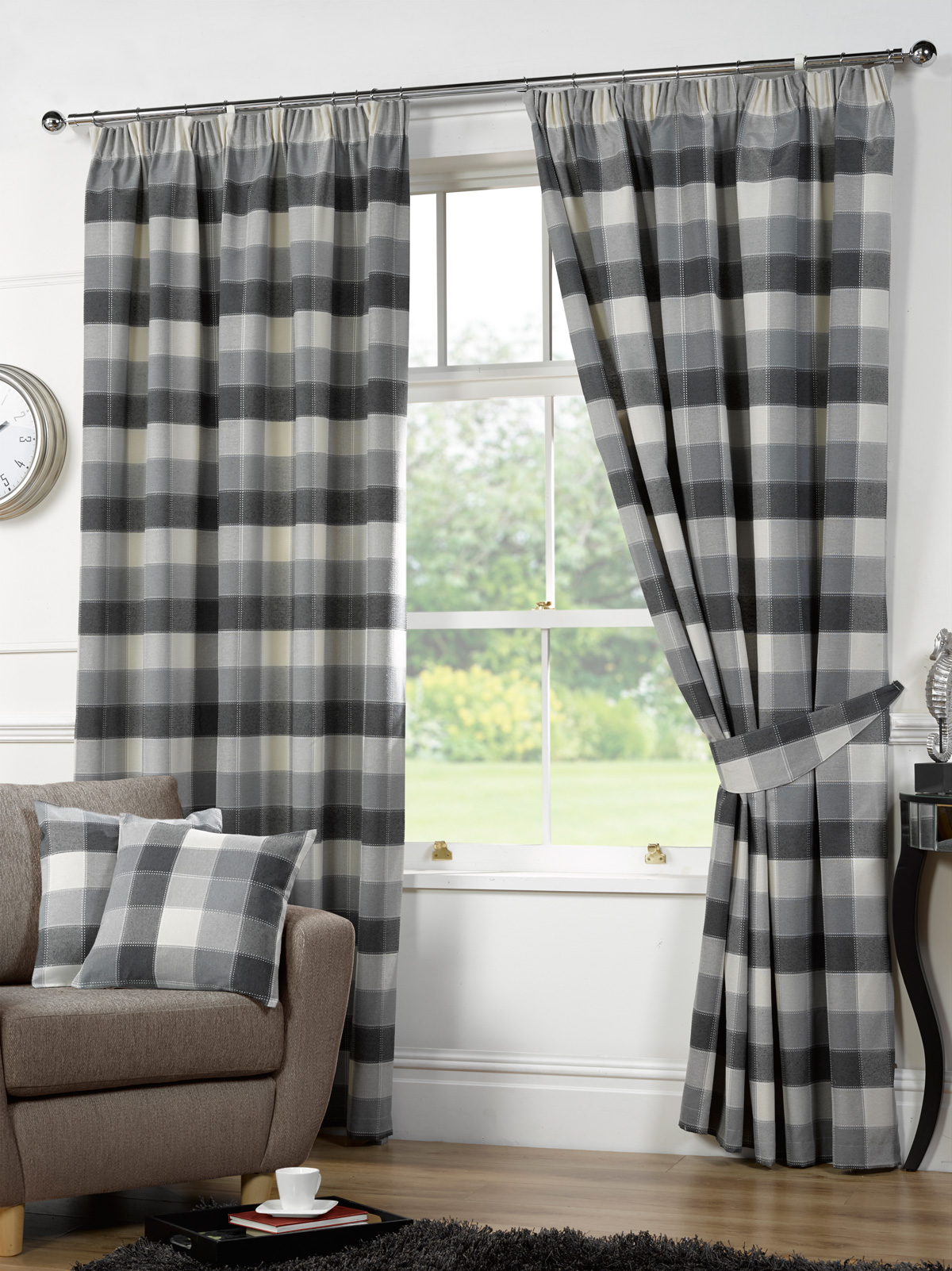 Black and white checked curtains - Black And White Buffalo Check Curtains Black And Green Curtains