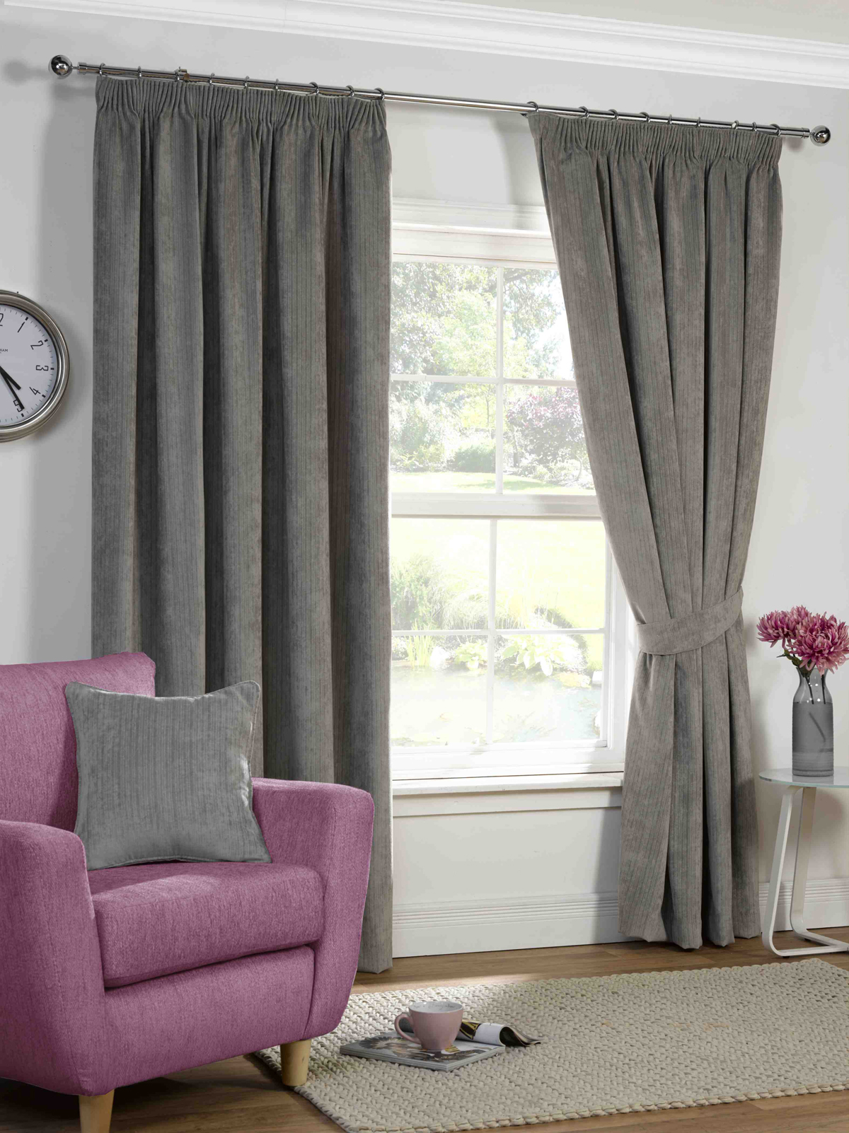 Purple silk curtains - Harper Ready Made Lined Curtains