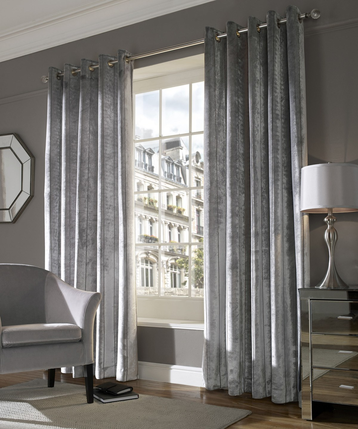 Lux Eyelet Lined Curtains In Silver