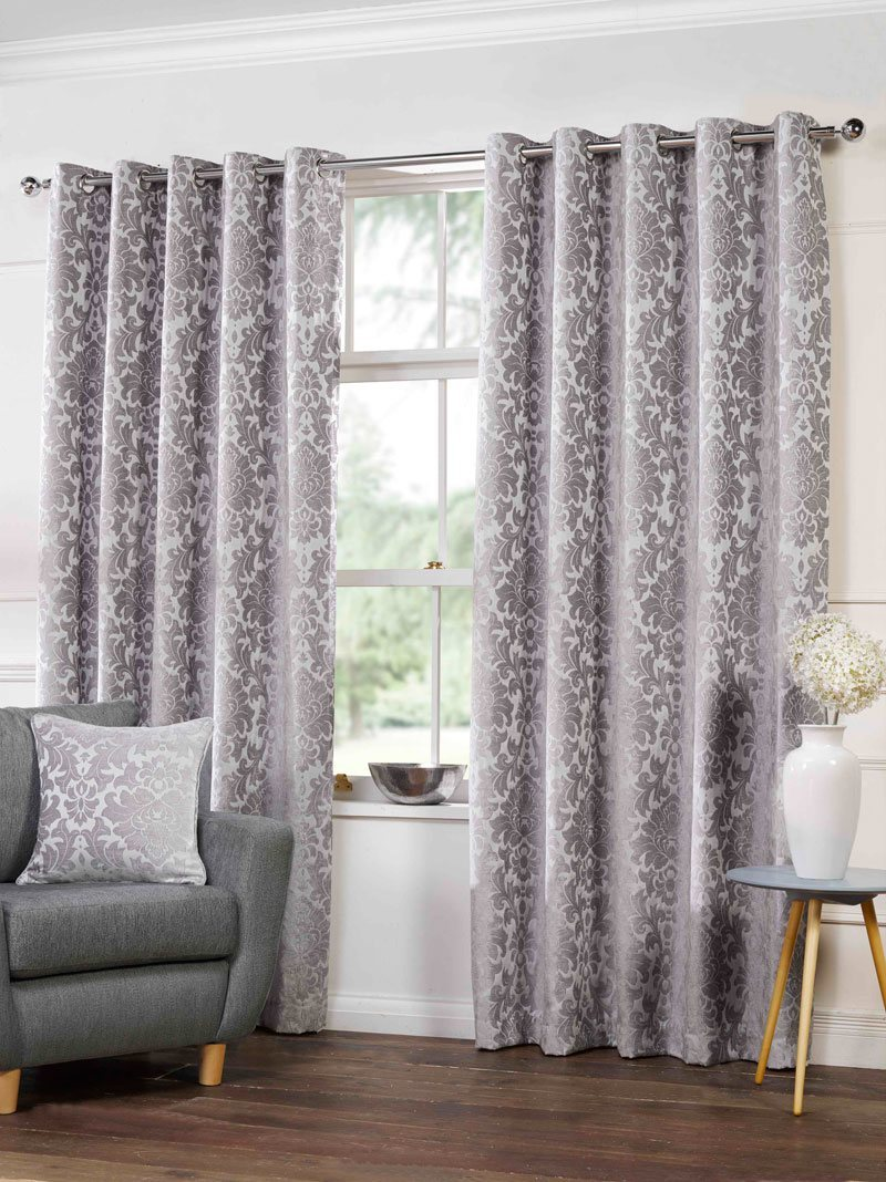 Damask curtains living room - Camden Ready Made Lined Eyelet Curtains