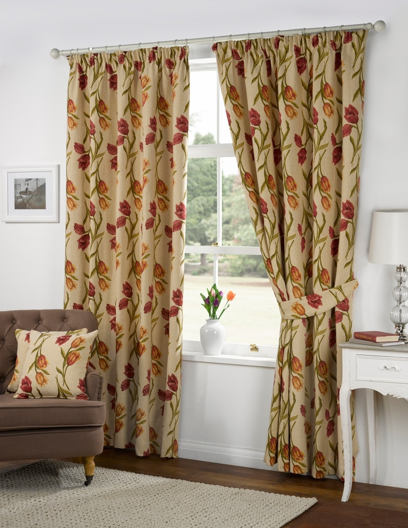 Amsterdam Tulip Tapestry Ready Made Lined Curtains