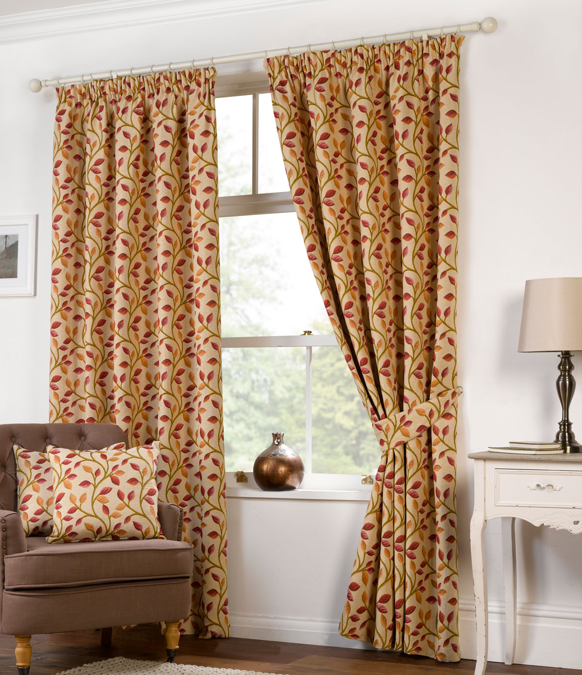 Chartwell Vines Tapestry Ready Made Lined Curtains - Chartwell Vines Tapestry Curtains Free UK Delivery Terrys Fabrics