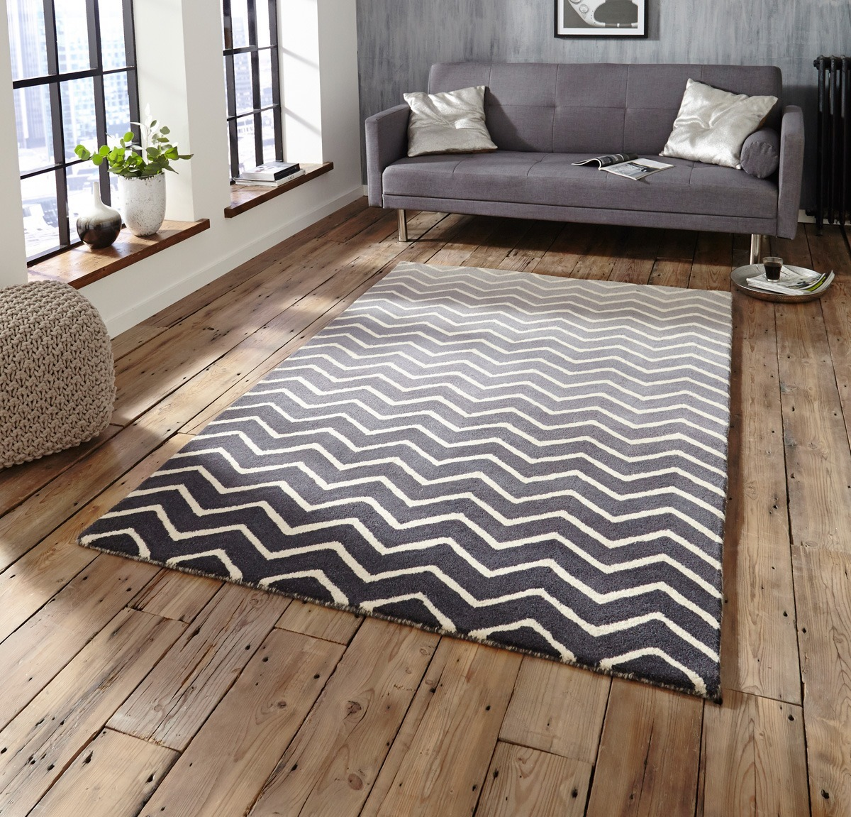 Spectrum Sp22 Rug In Grey White Free Uk Delivery